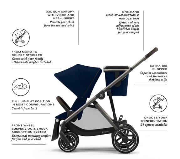 CYBEX Gazelle S Tandem or Single stroller features