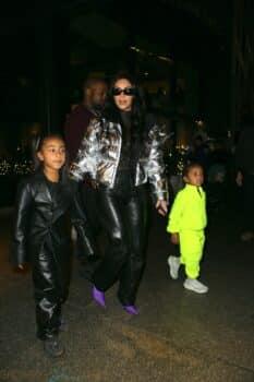 Kim Kardashian West leave Milos restaurant with her kids Saint and North december 21st 2019