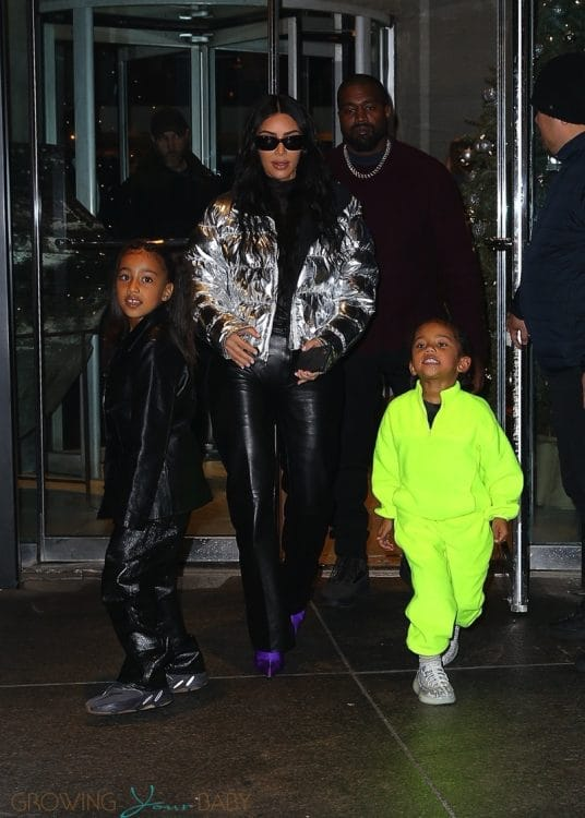 Kim Kardashian and Kanye West leave Milos restaurant with their kids Saint and North december 21 2019