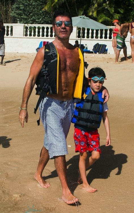 Simon Cowell Hits The Beach With Son Eric in barbados december 28th