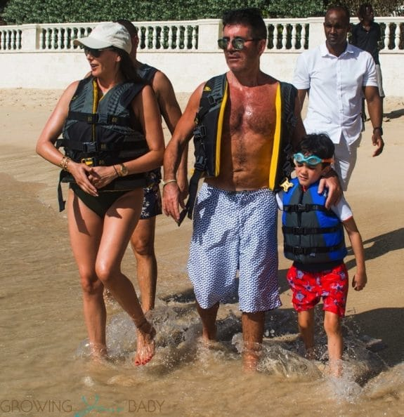 Simon Cowell and Lauren Silverman Hit The Beach With Son Eric
