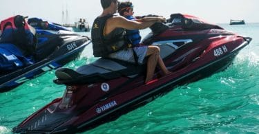 Simon Cowell on a Jetski with son Eric in Barbados