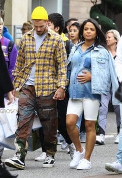 pregnant Christina Milian shops at Pottery Barn kids with Matt Pokora