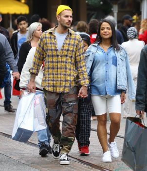 pregnant Christina Milian shops at Pottery Barn kids with Matt Pokora dec 2019