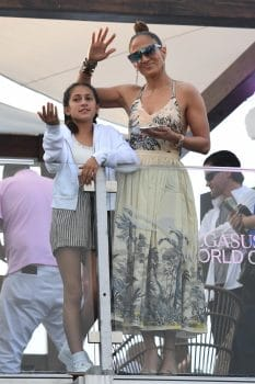 Jennifer Lopez attends the 2020 Pegasus World Cup Championship with her kids Max and Emme