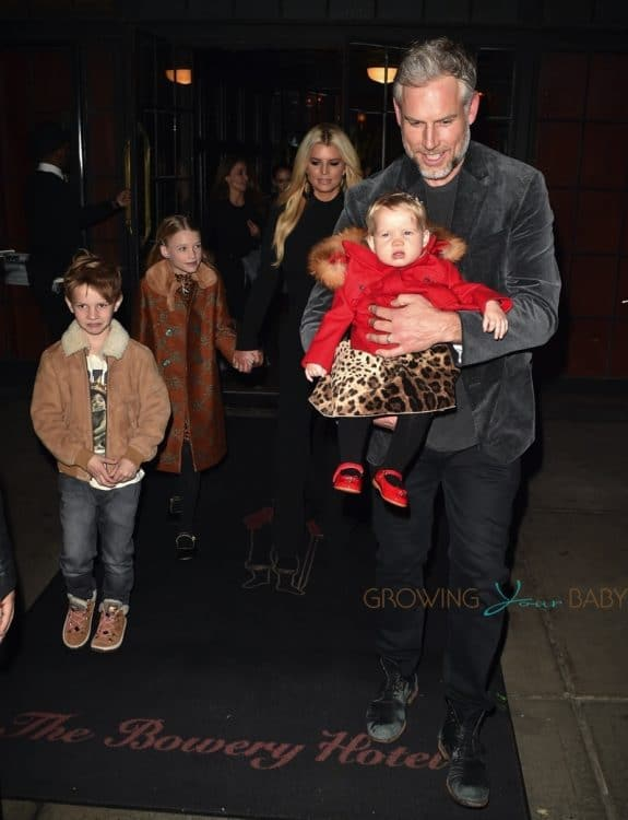 Jessica Simpson and Eric Johnson leave the Bowery Hotel in NYC with daughter maxwell, birdie and son Ace