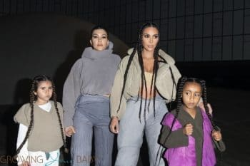 Kim Kardashian, North West, Kourtney Kardashian, and Penelope Disick arrive at the Yeezy Season 8 after party