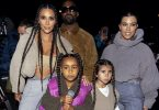 Kim Kardashian, North West, Kourtney Kardashian, and Penelope Disick arrive at the Yeezy Season 8 after party F