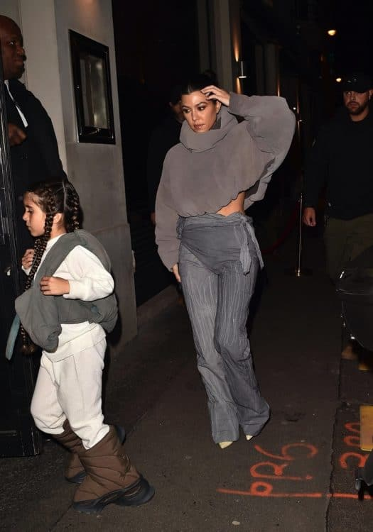 Kourtney Kardashian, and Penelope Disick arrive at the Yeezy Season 8 after party