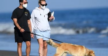 Joe Jonas and pregnant wife Sophie Turner take a romantic walk on the beach in Santa Barbara