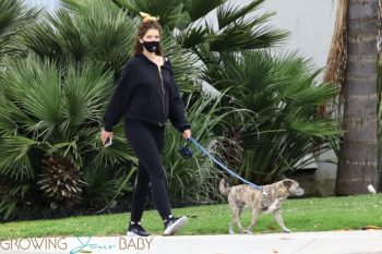 Pregnant Katherine Schwarzenegger goes for an afternoon walk with her dog