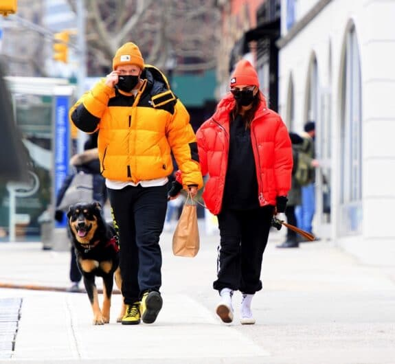 Emily Ratajkowski and husband Sebastian Bear-McClard step out in matching jackets