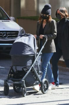 Emily Ratajkowski pushes her baby