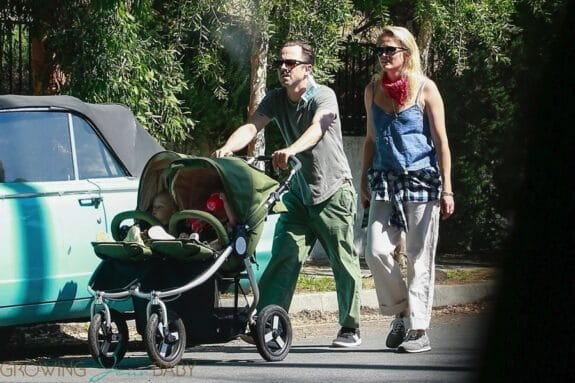 Giovanni Ribisi and his partner Emily Ward out with their twins