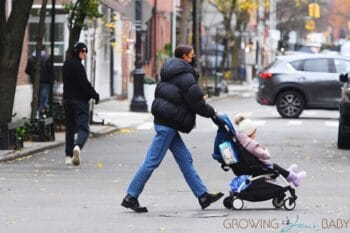 Irina Shayk out in West Village with daughter