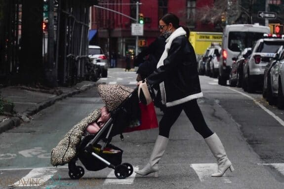 Irina Shayk pictured taking a stroll with her daughter through the West Village