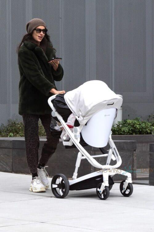 Irina Shayk pushes Milkbe stroller in NYC