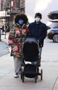 Joshua Jackson and Jodie Turner-Smith take baby out for a walk Jeremy Scott Cybex Priam