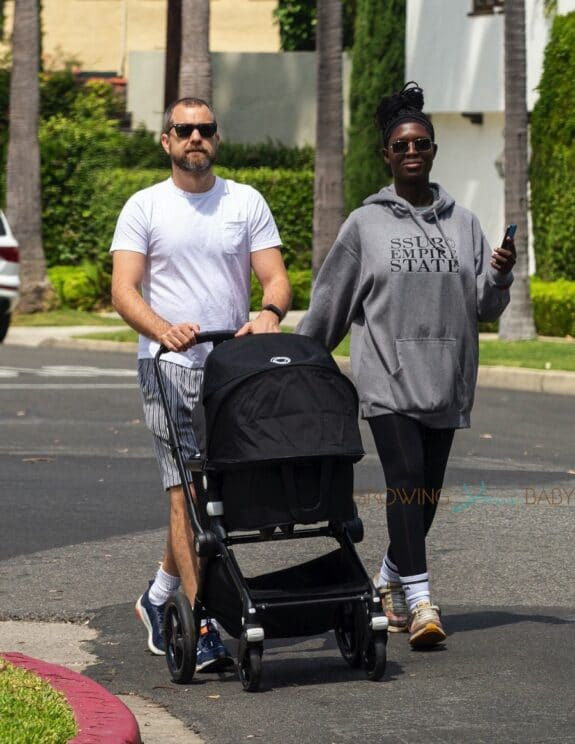 Joshua Jackson and Jodie Turner-Smith take baby out for a walk bugaboo