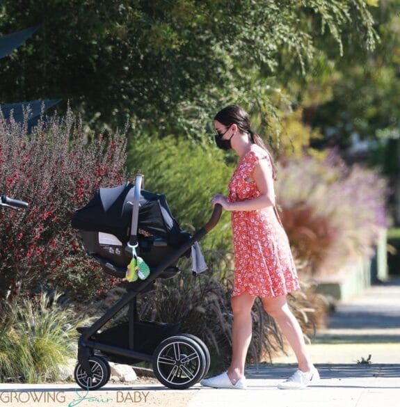 Lea Michele takes a stroll with her beau and baby in Brentwood nun stroller