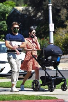 Lea Michele takes a stroll with her beau and baby in Brentwood nuna
