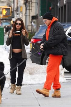 Emily Ratajkowski shows off her baby bump as she steps out with hubby Sebastian Bear-McClard in NYC
