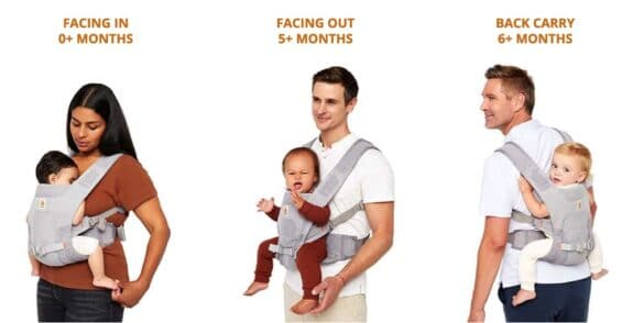 ErgoBaby Aerloom Baby Carrier wearing positions