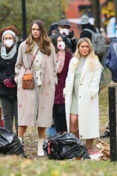 Hilary Duff and Sutton Foster film a scene for Younger in Tompkins Square Park