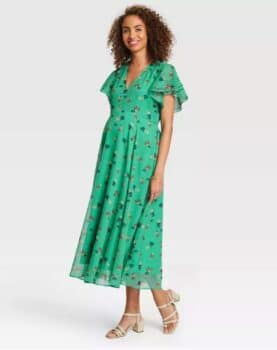 Pregnancy Style For Under $40 - The Nines by Hatch at Target green fluttersleev dress
