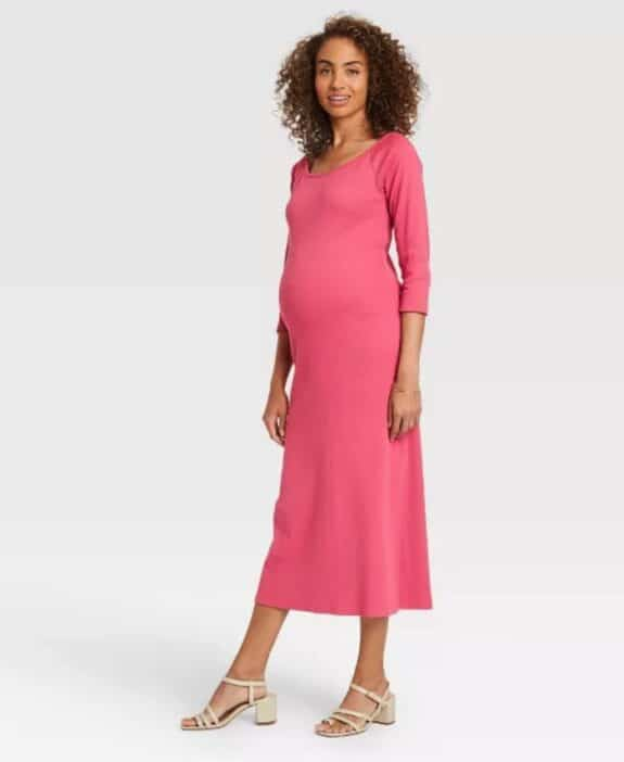 Pregnancy Style For Under $40 - The Nines by Hatch at Target pink dress