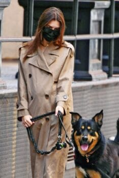 Emily Ratajkowski looks stylish in a trench coat as she shows off her growing baby bump while out for a walk