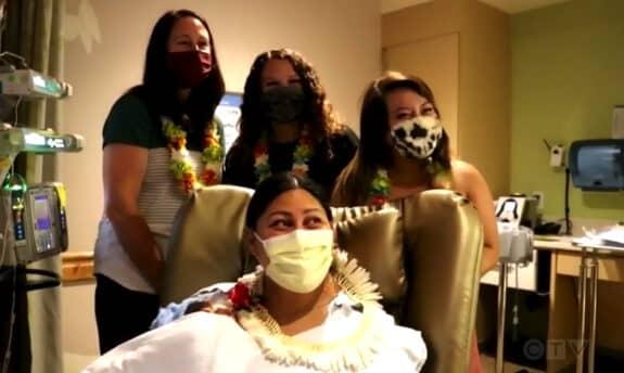 Lavinia Lavi Mounga with baby Raymond and the three NICU nurses