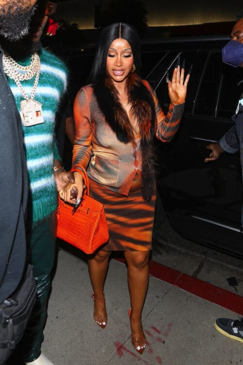 Cardi B and Offset seen arriving at BOA Steakhouse after the pair announced they are expecting their second child together