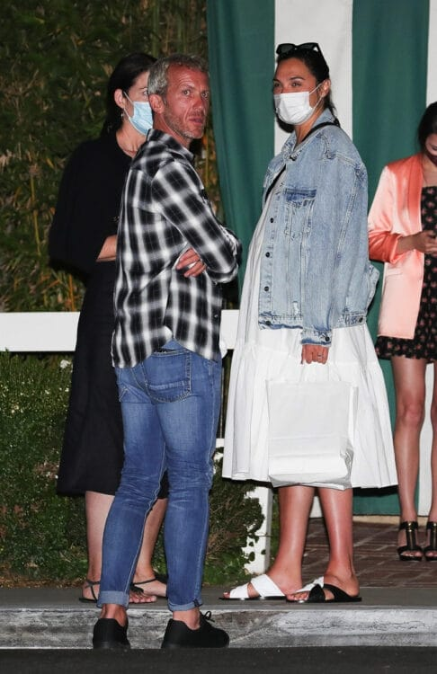Gal Gadot chats with her husband and friend after dinner at San Vicente Bungalows