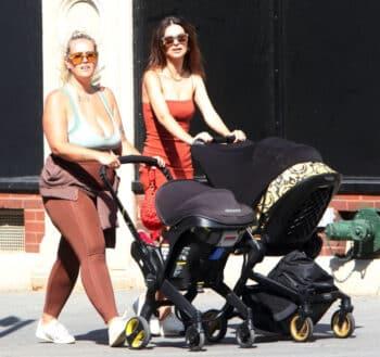 Emily Ratajkowski pushes her son in the Versace stroller