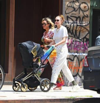 Gigi Hadid pushes Jeremy Scott wings stroller