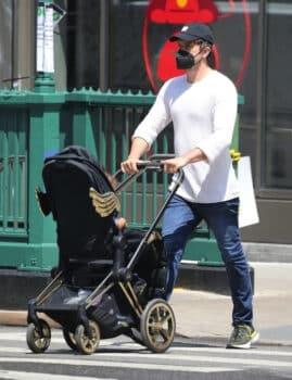 Joshua Jackson pushes jeremy scott wings stroller