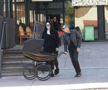 Kat Von D and Rafael Reyes have lunch in L.A. with their newborn son - Custom Silver Cross Balmoral Pram