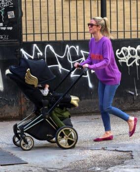 Nicky Hilton pushes Jeremy Scott wings stroller