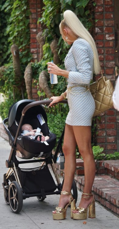 Selling Sunset star Christine Quinn with newborn out in LA