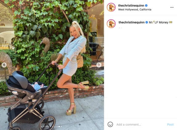 Selling Sunset star Christine Quinn with newborn out in LA IG