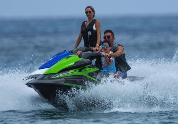 Simon Cowell goes jet-skiing in Barbados with his family