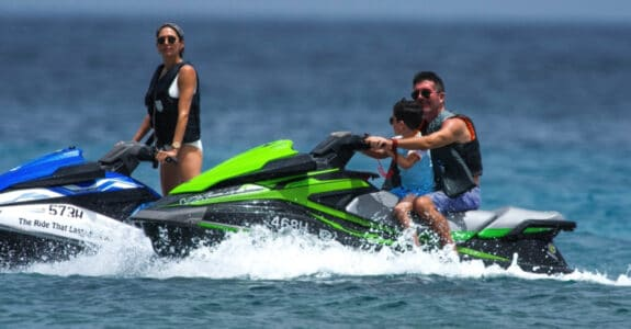 simon cowell, lauren silverman and son eric cowell in Barbados