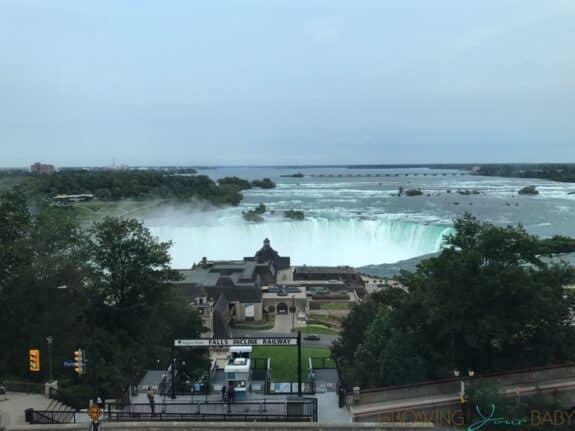 Family Travel Review - Embassy Suites Falls View Niagara Falls Canada view from KEG