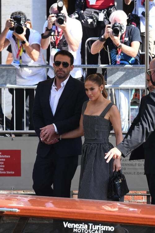 Jennifer Lopez and Ben Affleck arriving on a boat for the 78th Venice Film Festival in Venice 2021
