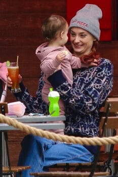 Sophie Turner and daughter Willa pictured at a Soho eatery this afternoon in Manhattan.