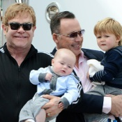 Elton John and David Furnish Visit Venice With Their Boys