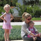 Rebecca Gayheart & Her Girls Visit Dad Eric While He Works Out