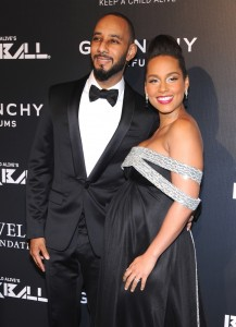 A pregnant Alicia Keys attends Keep A Child Alive's 11th Annual Black Ball with Swizz beatz in NYC