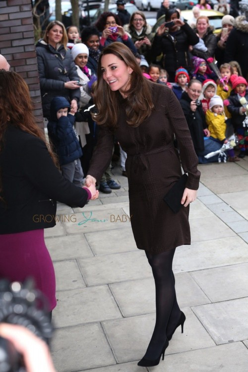 A pregnant Duchess of Cambridge, Kate Middleton, visits the Fostering Network in London